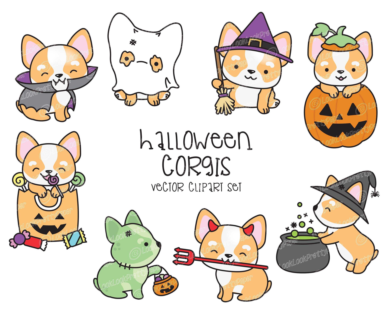 Premium Vector Clipart Kawaii Halloween Corgi Cute Halloween Corgi Clipart Set High Quality Vectors Kawaii Halloween Clipart Kawaii Halloween Cute Corgi Kawaii Clipart