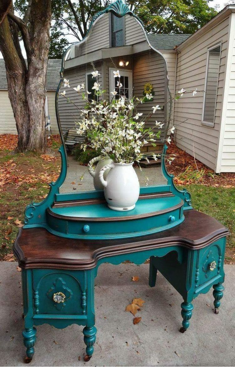 Turquoise refinished vanity | Furniture Refinishing | Pinterest ...