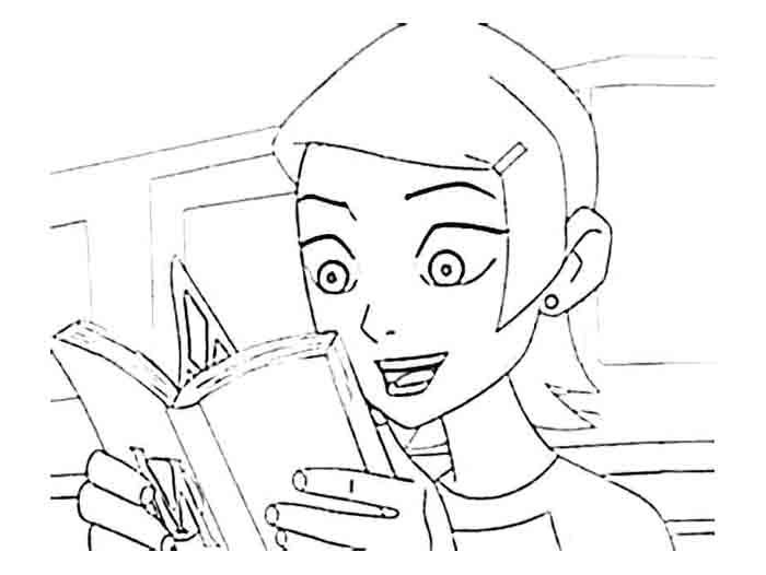 Gwen Tennyson Reading A Book Coloring Page Coloring Books Coloring Pages Family Fun