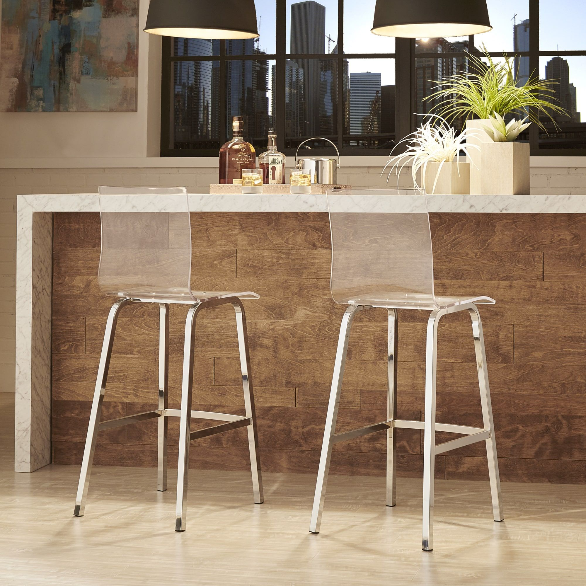 Miles Clear Acrylic Swivel High Back Bar Stools with Back (Set of 2) by  iNSPIRE Q Bold by iNSPIRE Q