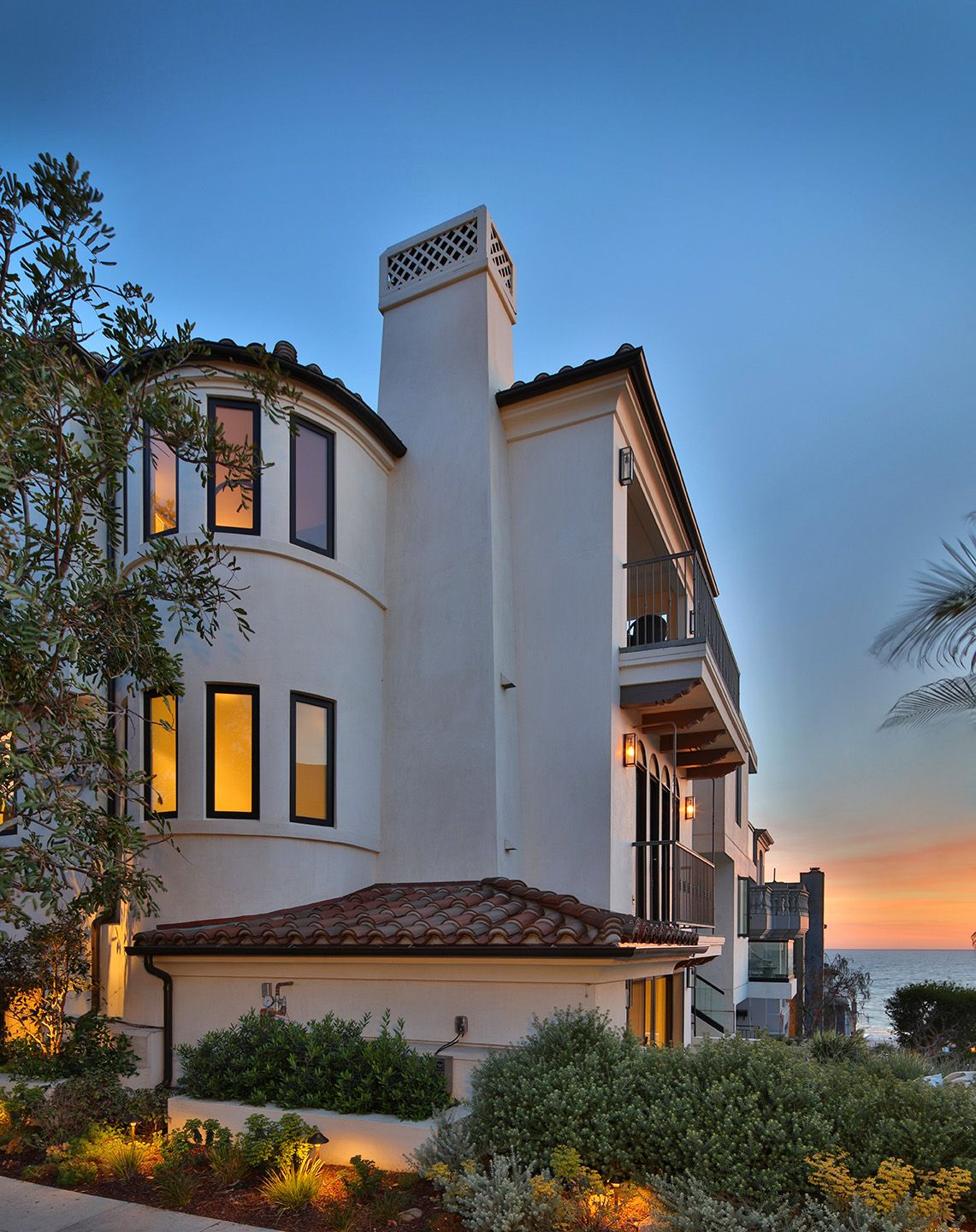 Spanish Luxury Home Exterior With Ocean View
