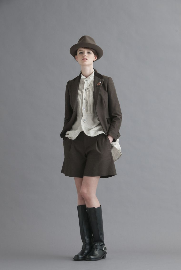 2013-14 A/W 016, Top Chino Cloth Fitted Jacket, Top Chino Cloth Baggy Culottes, Yarn-Dyed Linen Dungaree Dress Shirt