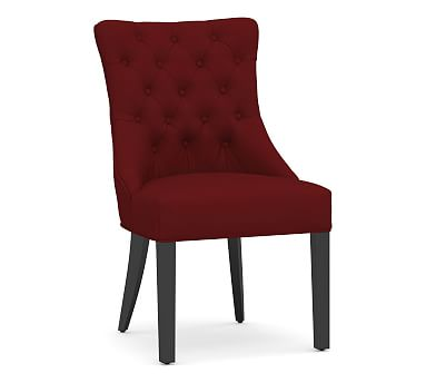 Hayes Upholstered Tufted Dining Side Chair Belgian Gray Frame Twill Sierra Red Oak Dining Room Chairs Red Dining Chairs Contemporary Dining Chairs