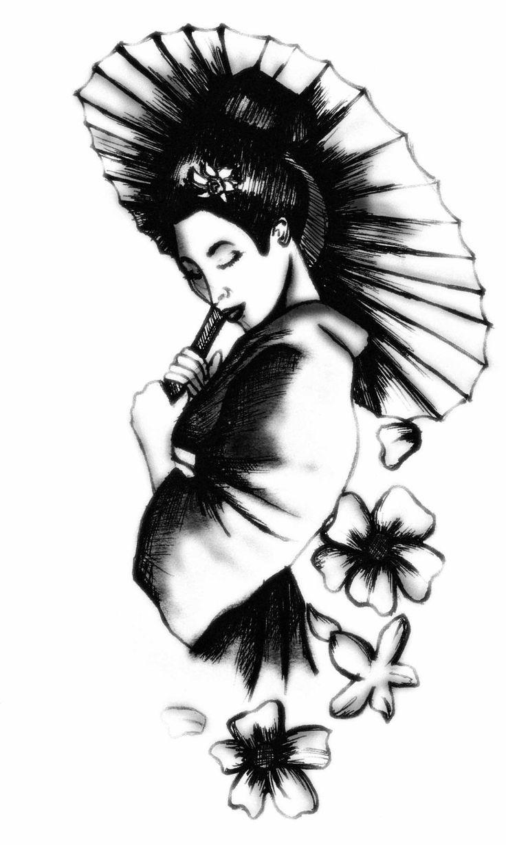 Картинки черно белые с японкой