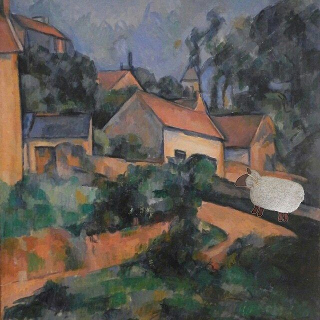 Artists who paint outside understand the forces of nature that interfere with their work – weather, bugs, sun exposure, constant change in light, and the weight of all their equipment and supplies. I bet Paul could have used a heating pad at the end of a day of painting. Paul Cezanne, Turning Road at Montgeroult, 1898, Museum of Modern Art, NY #mainewarmers #microwaveheatingpads #heatingpads #sheep #cezanne #paulcezanne #moma