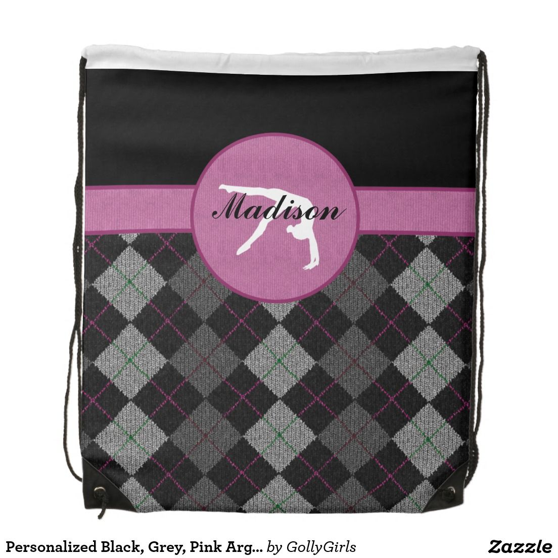 """Personalized Black, Grey, Pink Argyle Gymnastics Drawstring Backpack - Classy gymnastics drawstring backpack with a beautiful black, grey, and pink argyle backdrop. It has a gymnast silhouette inside of a pink circle. Add your own name before ordering! Additionally, use the """"customize it"""" button for more options, including a different font!  ©gollygirls.com"""