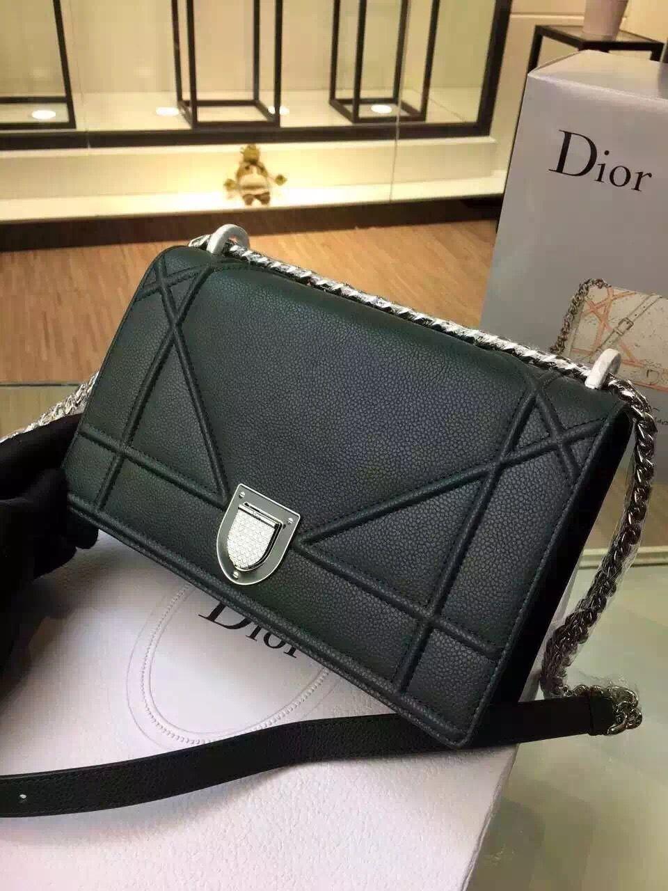 Dior Small Medium Diorama Grained Calfskin Flap Bag in Dark Green  Fall Winter 2015 cba9e0301c0bd