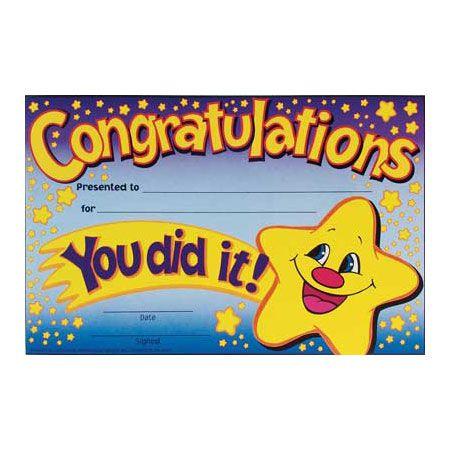 You Did It Certificate Supplies Pinterest Teacher