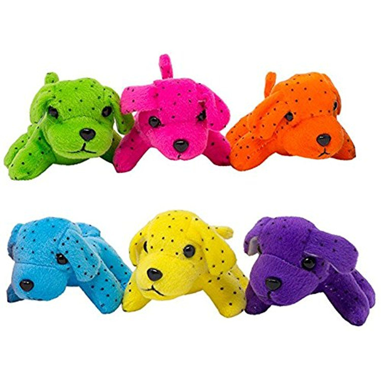 Plush Neon Dogs (1 Dozen) Bulk Set of Mini Puppy Stuffed