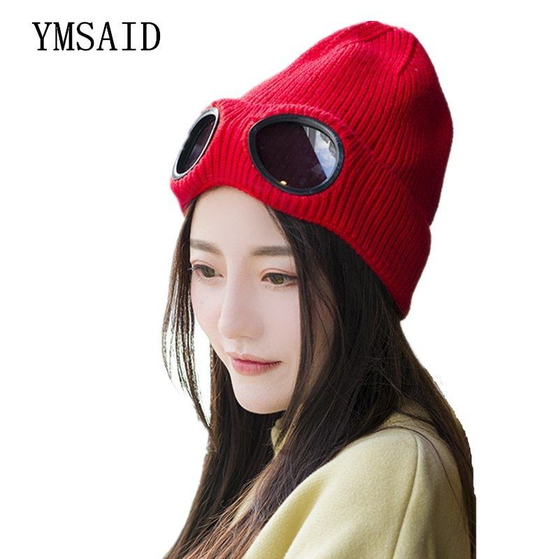 Ymsaid 2018 Windproof Glasses Hat Wool Winter Fashion Gorros Cap Fixing  Stacking Knitted Hats Women Personality 307b7e465d23