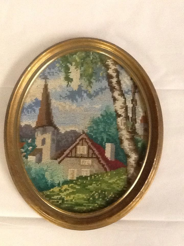 Completed Needlepoint Church Country Steeple Oval Frame Vintage 9x11 ...