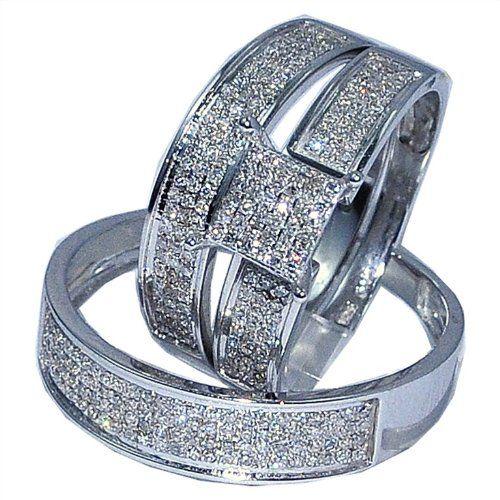 White Gold Trio Wedding Set Mens Womens Rings Matching 0 53ct W Diamond 599 00