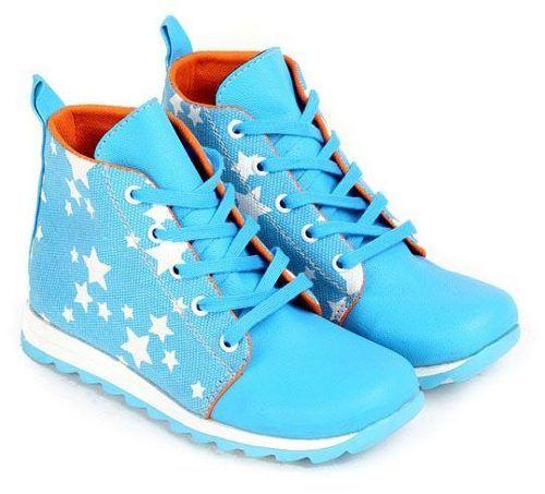 Sepatu Anak Cewek Biru Tali Bintang Putih Sepatu Anak Cewek Biru