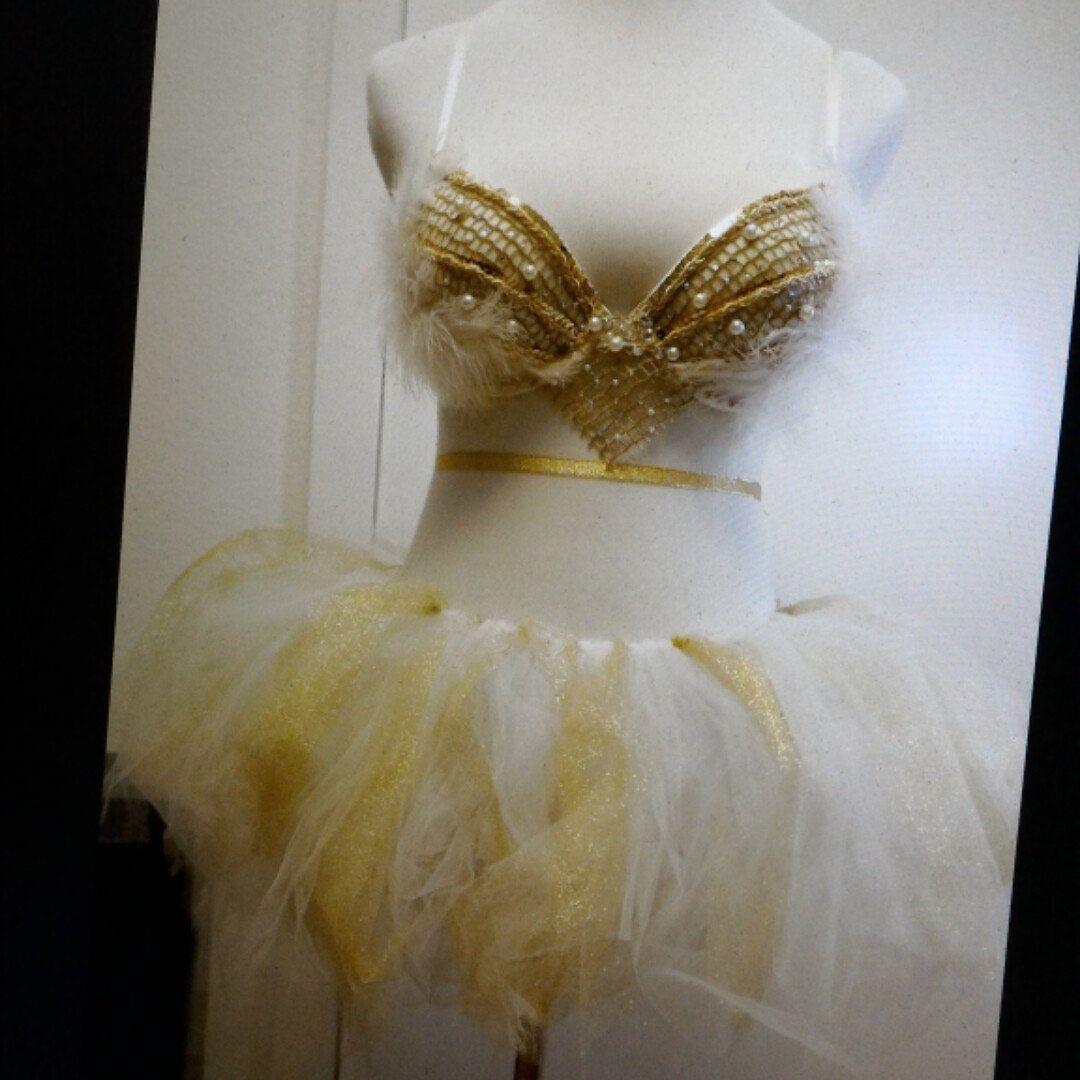 White Goddess Costume Bra Dance Rave EDC Beyond Wonderland Tomorrowworld Groove Ultra Holy Ship Countdown Nye Festival Outfit gq8SO