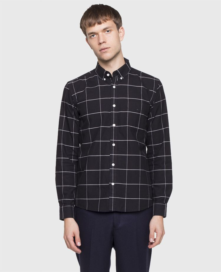 Saturdays - Crosby Oxford Grid Shirt Black - SOTO Berlin ...
