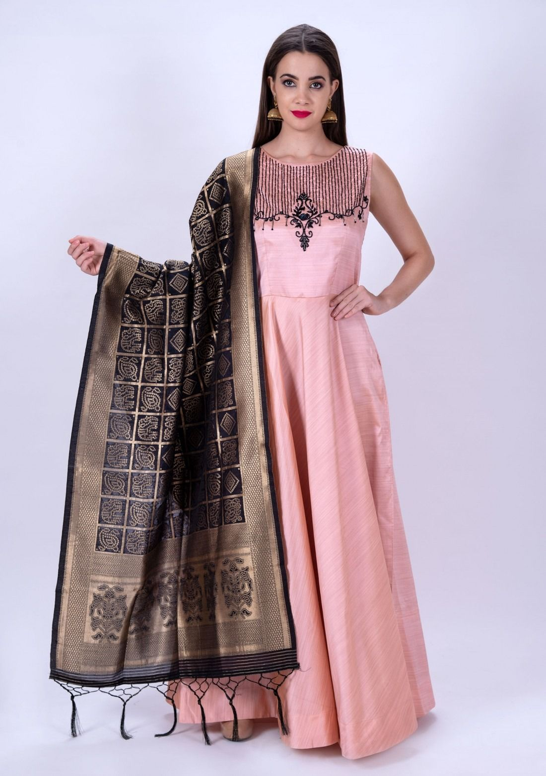 Women Baby Pink Embroidered Gown