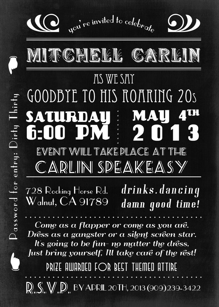 Roaring 20\'s party invitation http://www.etsy.com/shop/MTipsy ...