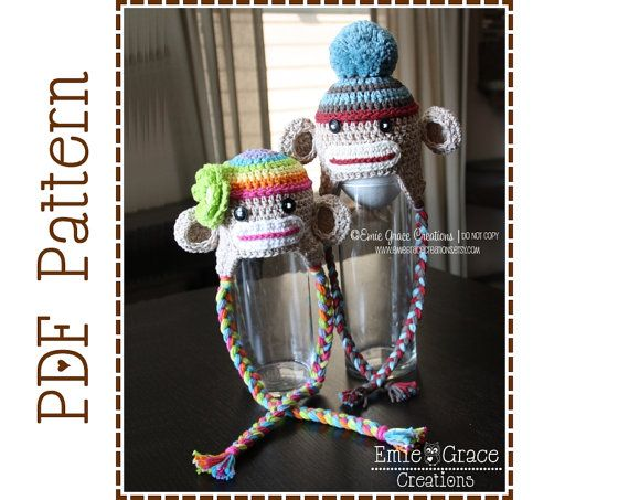 Sock Monkey Hat Crochet Pattern - SEDRIC & SADIE - 129