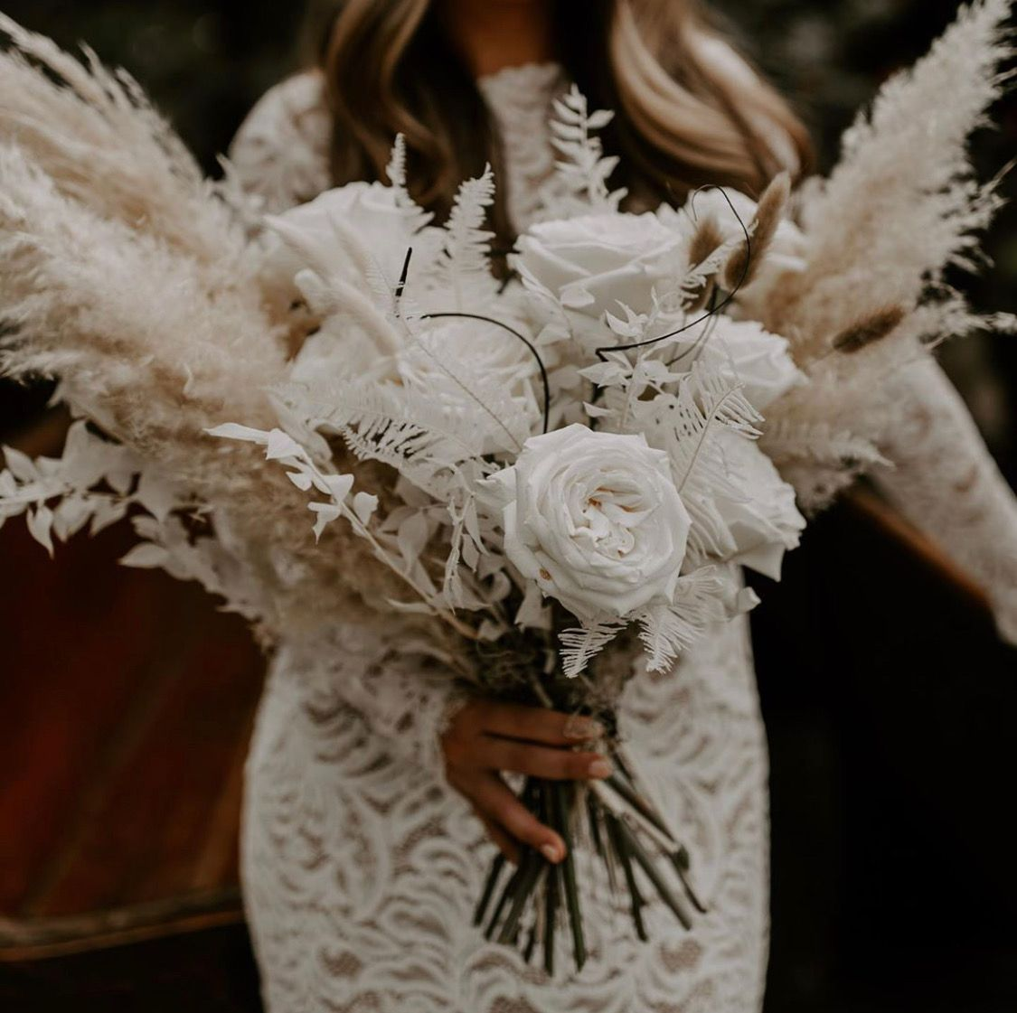 Boho Chic Bridal Bouquet With Fluffy Pampas Grass White Roses And