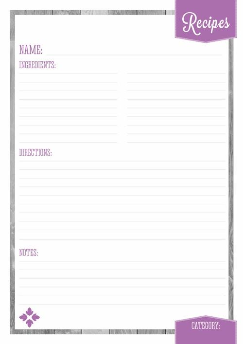 Home Organizer Recipe Pages  Eliza Ellis  Meal Planning