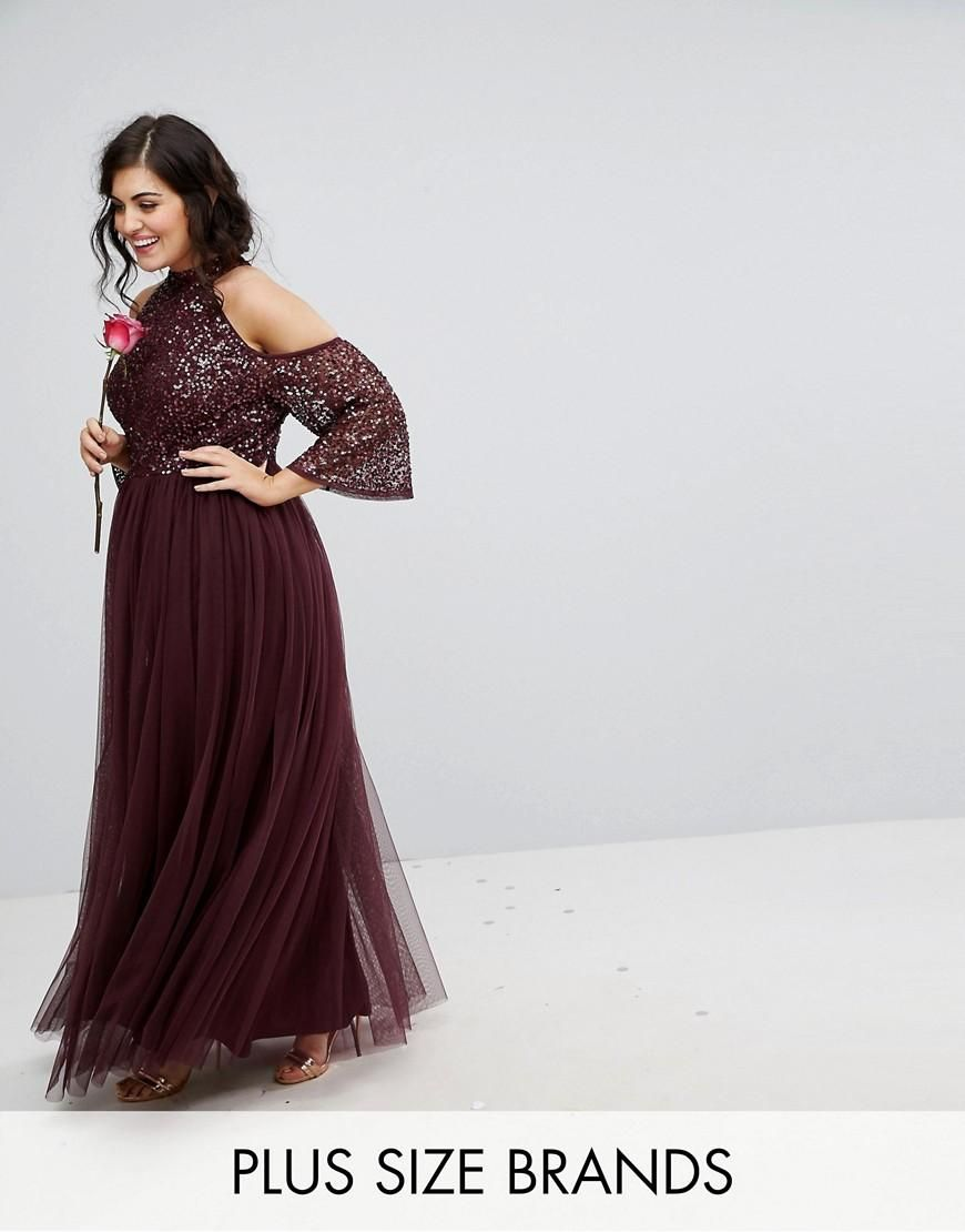 #AdoreWe #ASOS Clothing~~Dresses~~Day Dresses - Maya Plus Maya Plus Cold  Shoulder Maxi Dress In Tonal Delicate Sequin With Tulle Skirt And Kimono  Sleeve ...