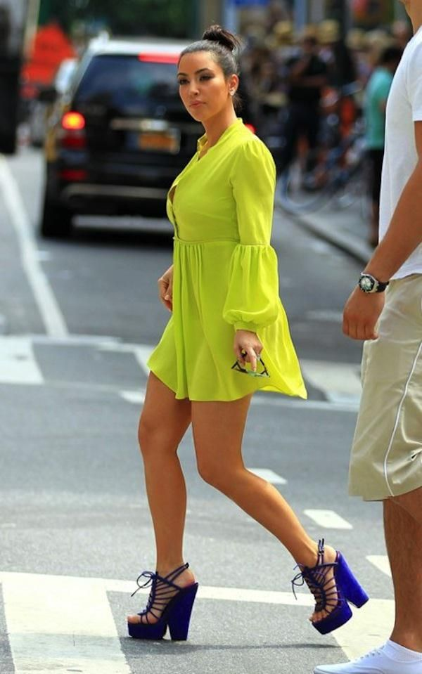 01674b7a0 Kim Kardashian - Neon outfit paired with purple heels ...