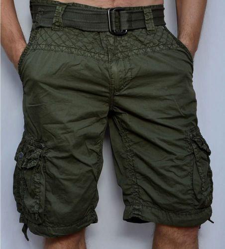 a6bf4953eb6 Affliction Black Premium-observación-Pantalones cortos estilo cargo de  Hombre-Verde Militar   eBay
