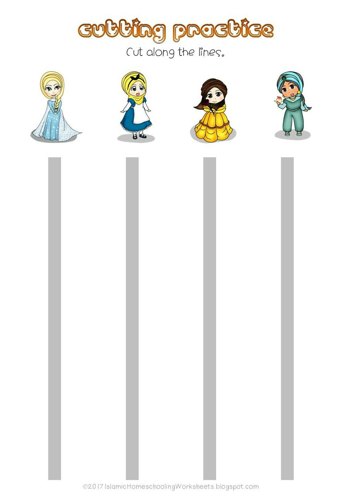 Free Cutting Practice In Disney Princess Preschool Pack Islamic Version