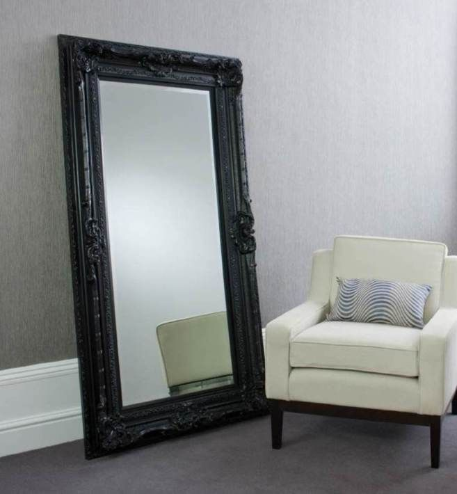 Floor Mirror With Frame Ikea Black Color And Sofa Leaner Mirror
