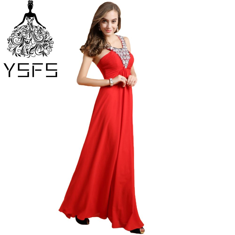 Click to buy ucuc ysfs sexy hater red chiffon long prom dresses pleats