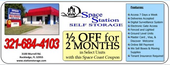 Get 50% OFF Your First Two Months AT Space Station Self Storage, Murrell Rd Rockledge FL.  http://spacecoastcouponsofbrevard.com/coupons/space-station-self-storage