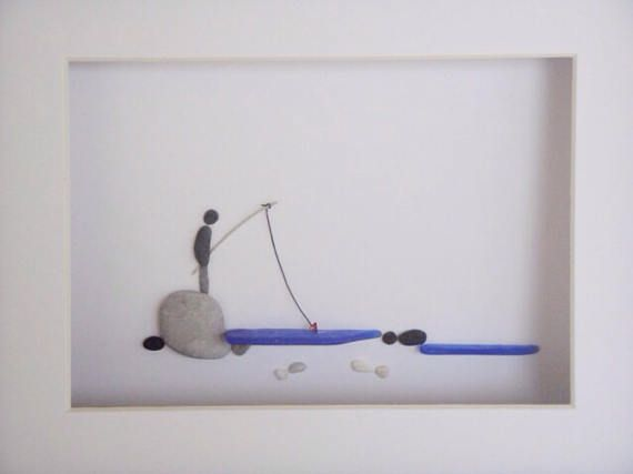 8 x 10 Pebble Art Picture Fisherman Framed in your choice | Sea ...
