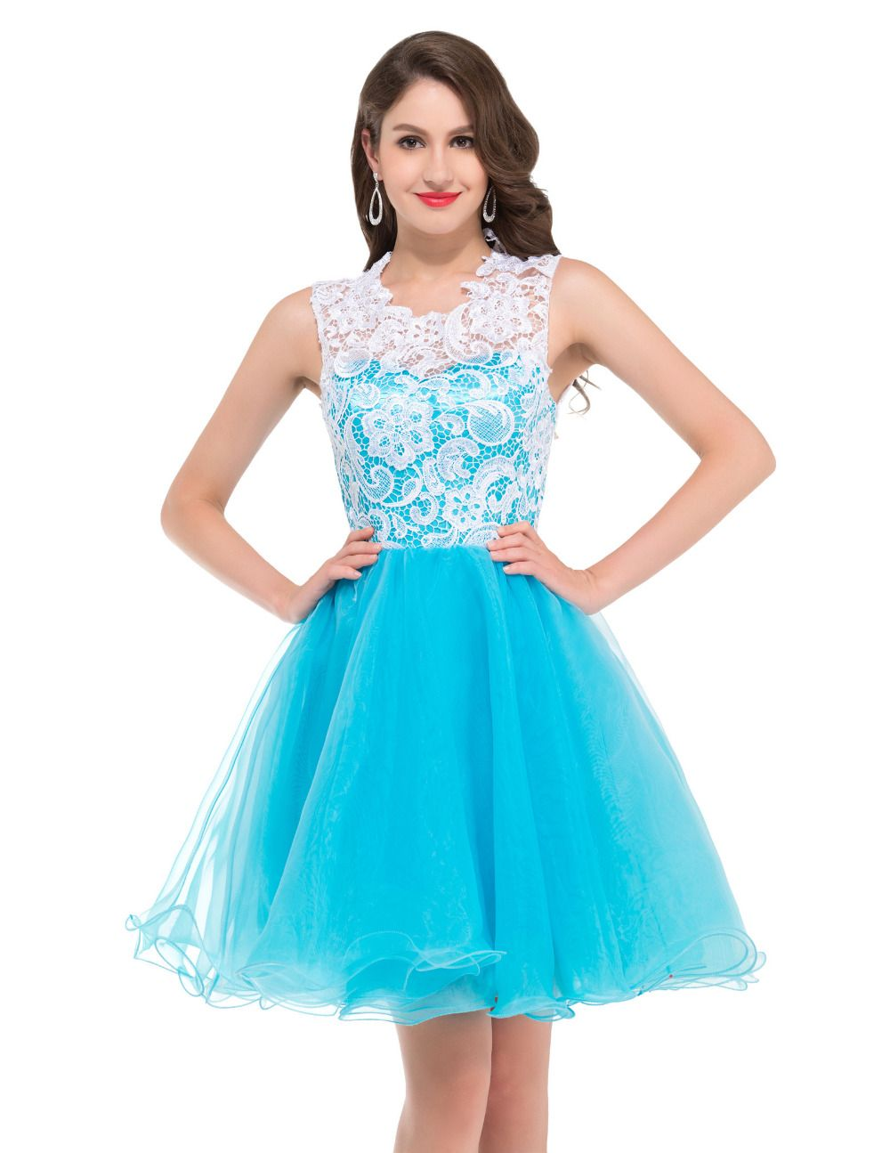 Ball Gown Elegant Lace Prom Dresses for Teens Knee Length Tulle ...