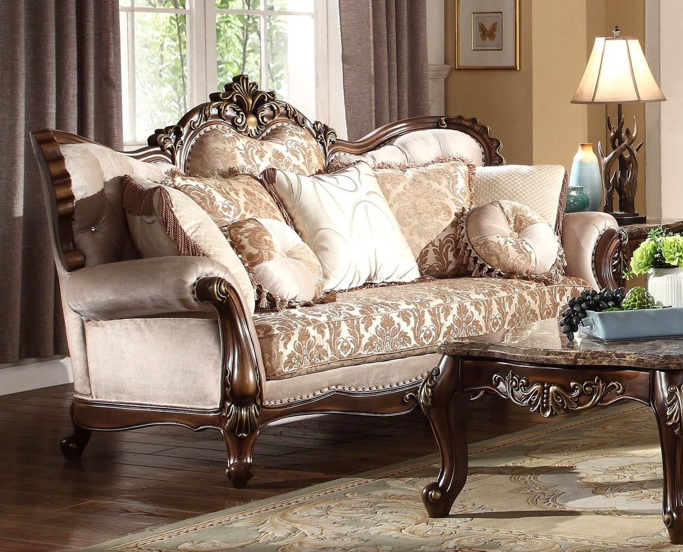 Beige Chenille Sofa Loveseat Set