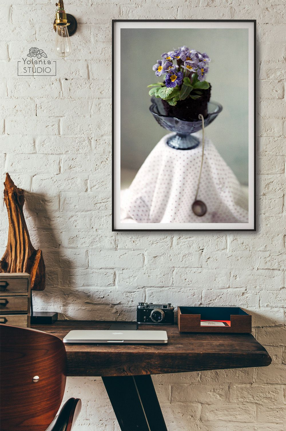 Blue primula wall art purple flowers wall art primula print