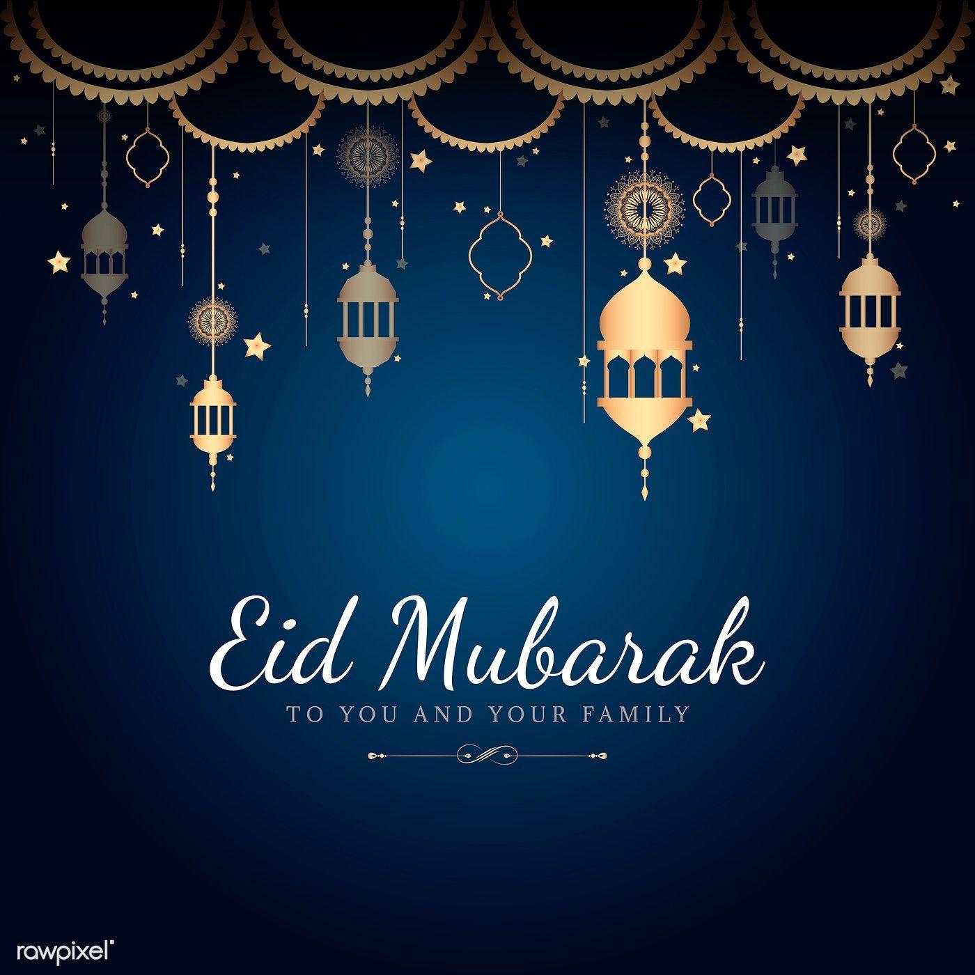 Download Premium Vector Of Eid Mubarak Card With Lanterns Pattern