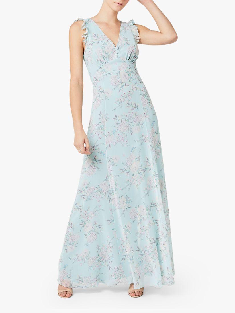 Maids to Measure Dahlia Cloud Floral Print Chiffon Maxi Dress, Multi