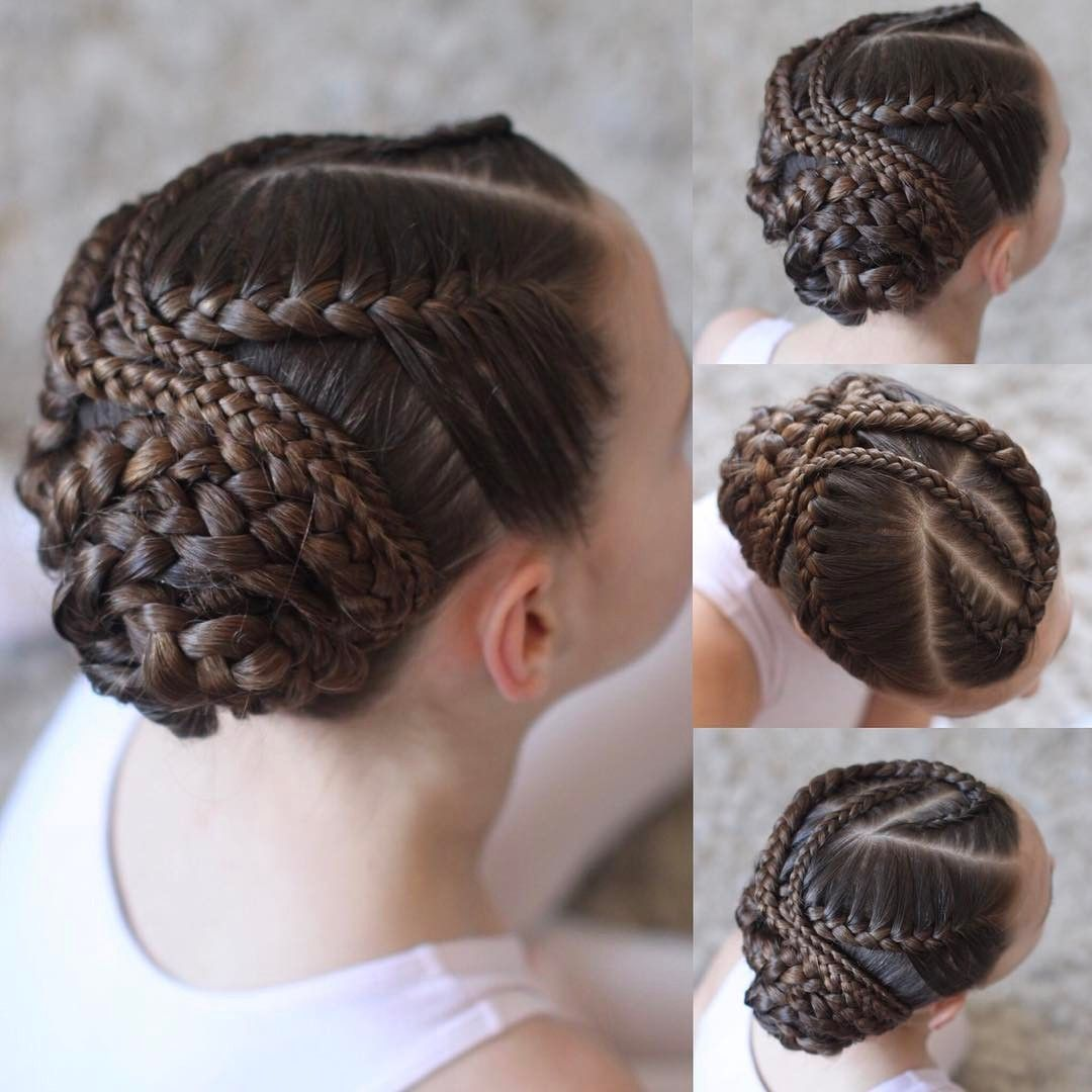 Braids Into A Bun For Dance I So Enjoy Having A Little More Time Than A School Day To Put Her Hair Up This Styl Hair Styles Braided Hairstyles Cool Braids