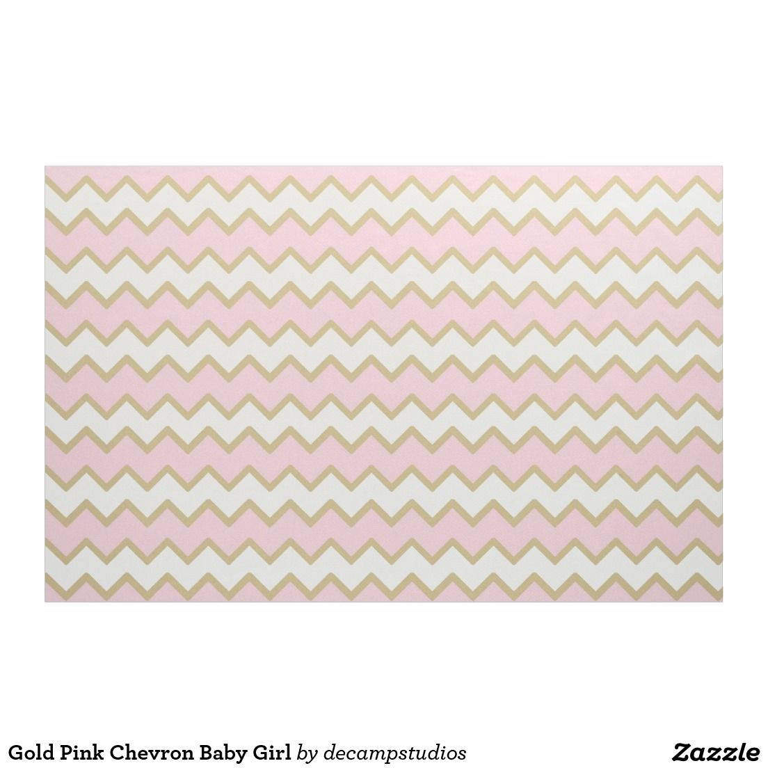 Gold Pink Chevron Baby Girl Fabric