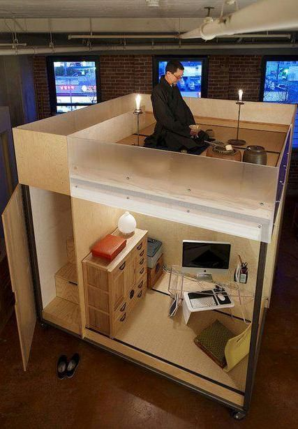 Zen Living Spaces wood design news || tiny zen living 8 foot square mobile cube