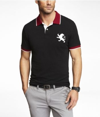 FITTED TIPPED LARGE LION PIQUE POLO  f489e5a238322