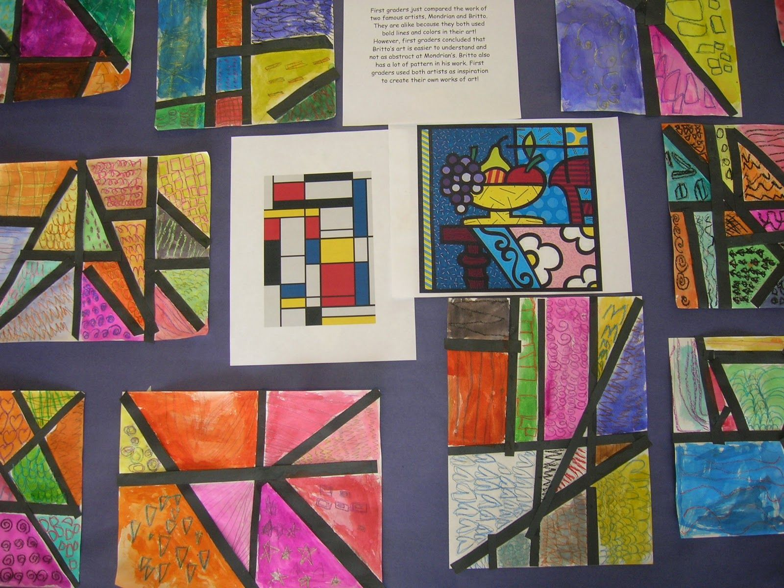 First Graders Compared The Work Of Two Famous Artists Piet Mondrian And Romero Britto They Are