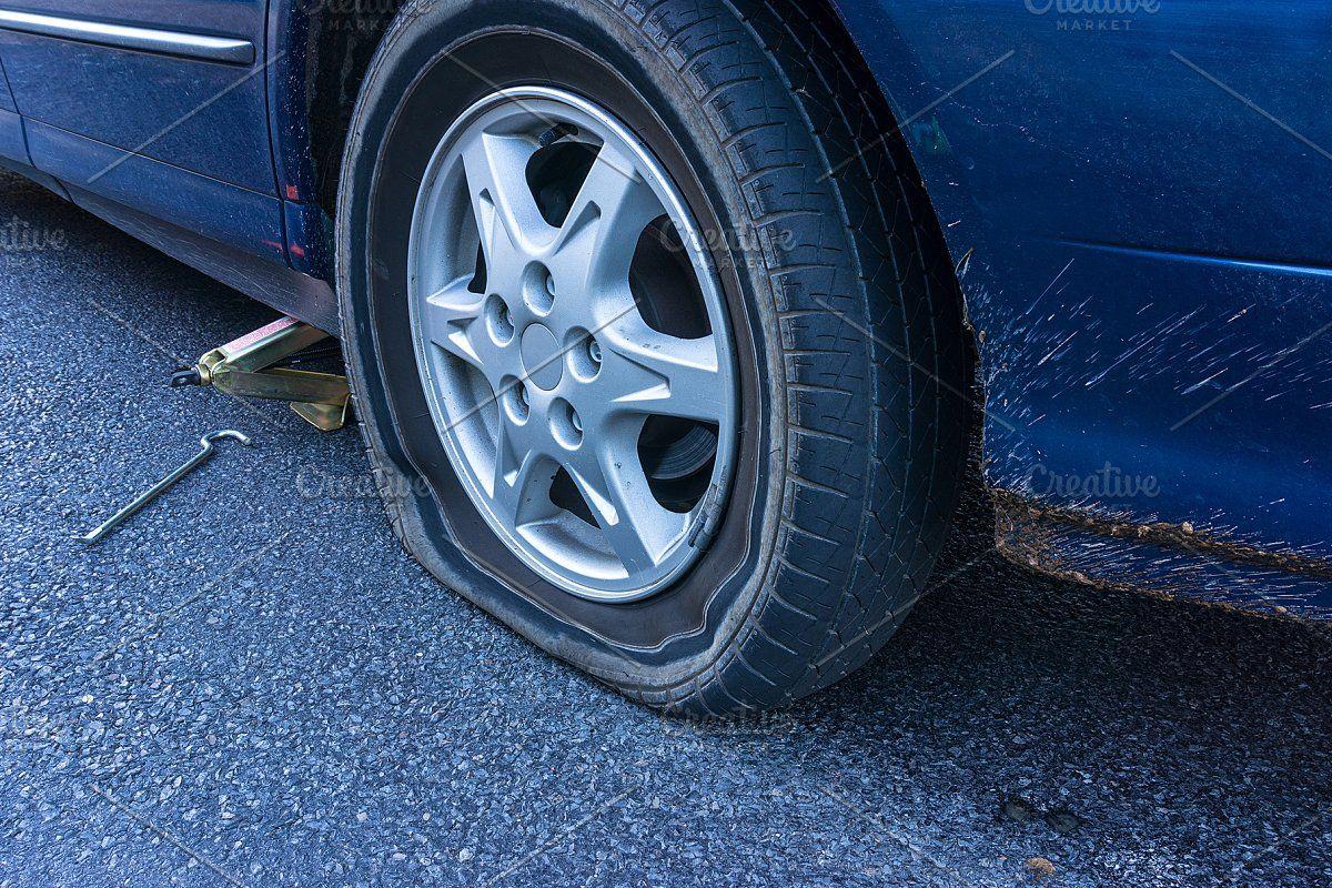 Flat tire on the road sponsored sponsored flatcar