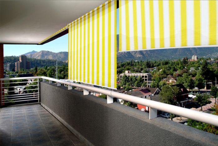 Aussenrollo Balkon Senkrechtmarkise 180 X 240cm Gelb Weiss