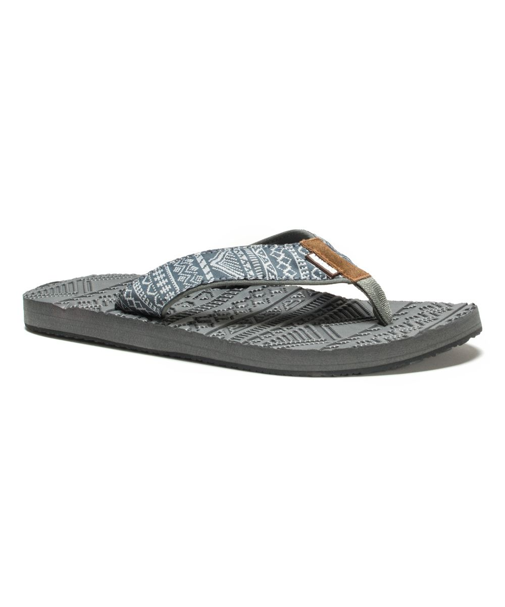 a02aa7bb4e4781 Sporty style is here with the Scotty thong sandal from Muk Luks. Nylon  upper in a thong sandal Rolled toe thong post Fairisle patterned strap  Smooth lining