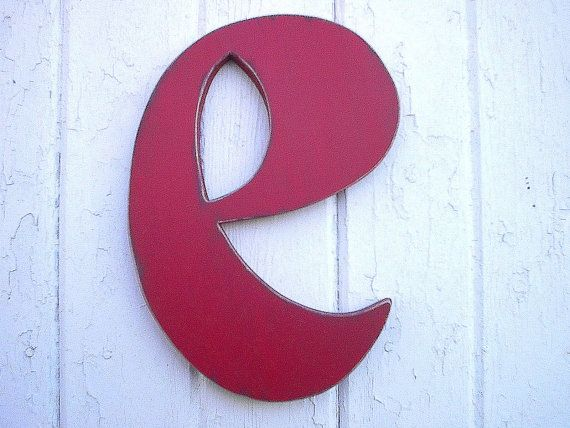 Distressed Wooden Lowercase Letter E Red 12 Inch Vintage Style
