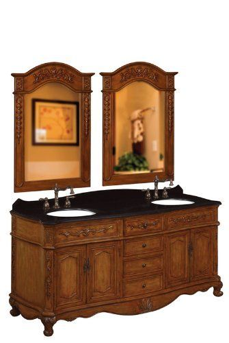 Bf80035r Belle Foret 72 In W Double Basin Vanity With Black Granite Top Medium Oakworld Imports Cabinet Yow