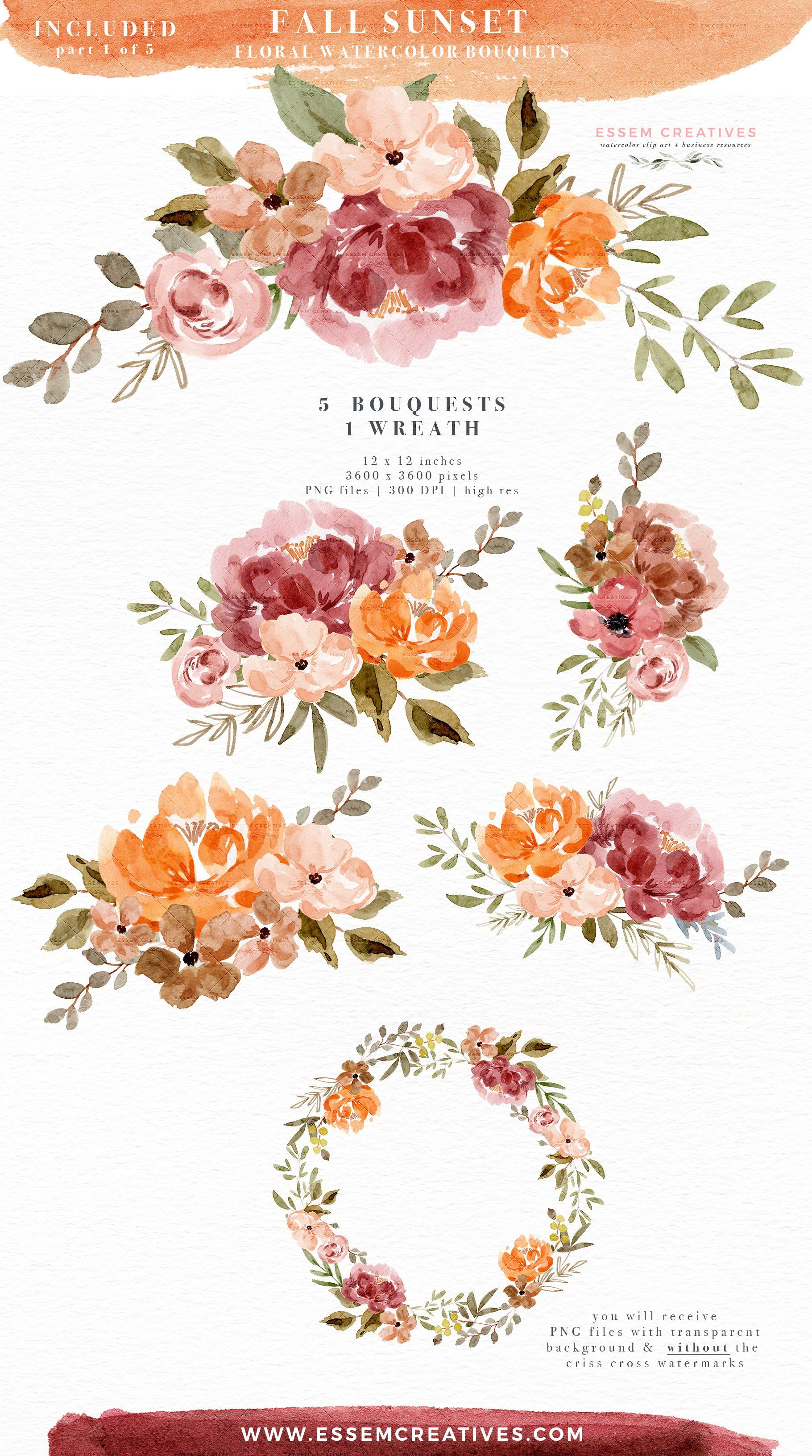 Orange Pink Fall Watercolor Flowers By Essem Creatives On