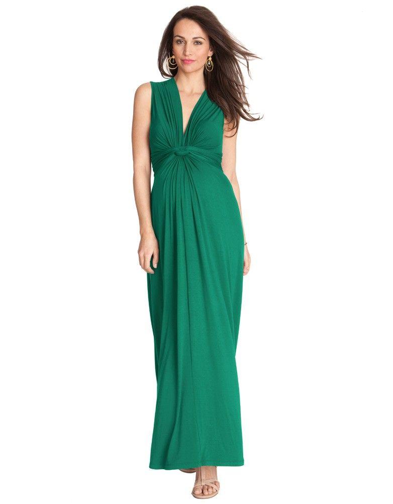 Emerald Knot Front Maternity Maxi Dress Maternity