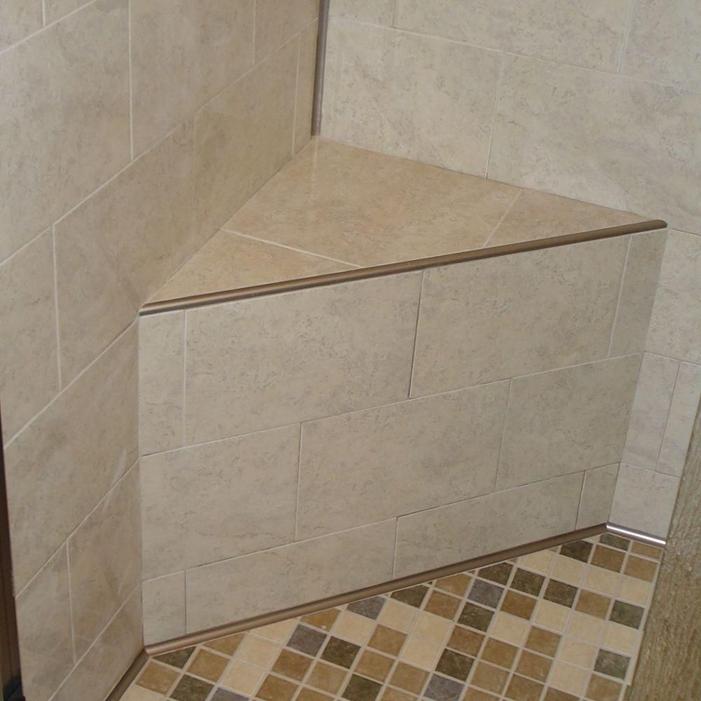 Schluter Rounded Trim On Edge Of Shower Bench Bathroom Wall Tile Tile Edge Master Bathroom Shower